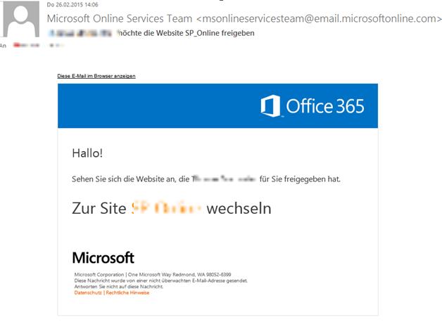Abbildung 3: E-Mail an einen externen Benutzer