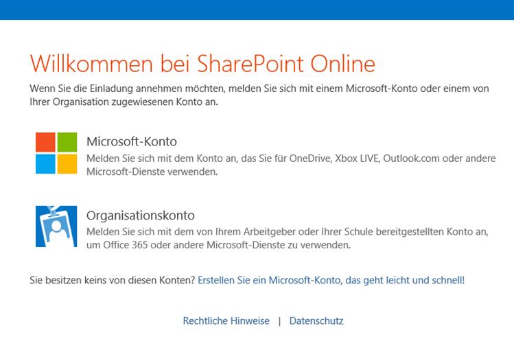 Abbildung 4: Anmeldung an SharePoint Online