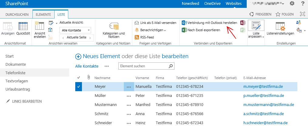 Abbildung 3: Kontaktliste mit Outlook verbinden