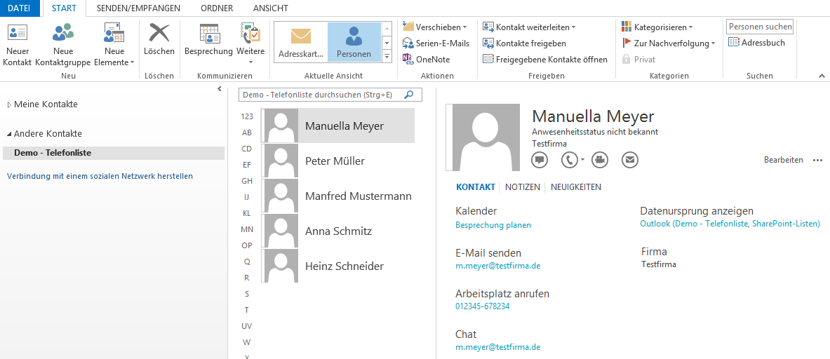 Abbildung 4: SharePoint Kontaktliste in Outlook