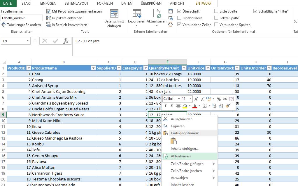 Abbildung 6: Nach Excel exportiere Liste mit Aktualisierungsmöglichkeit