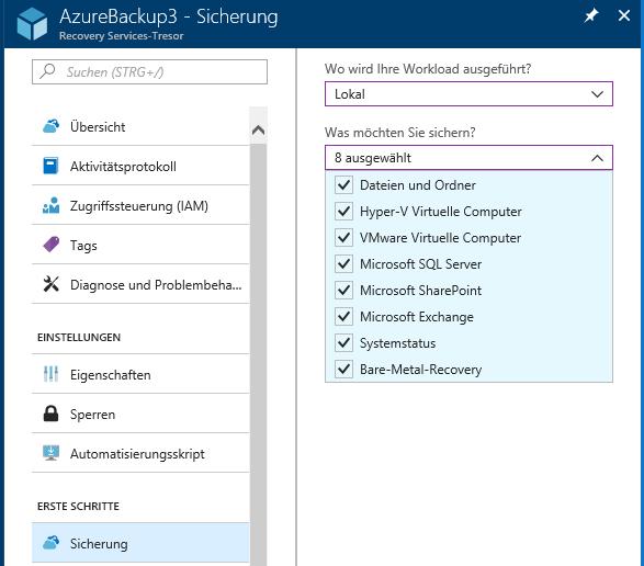 Azure Backup 3 Sicherung