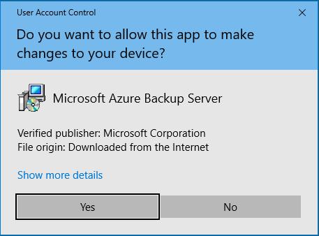 Microsoft Azure Backup Server Installer