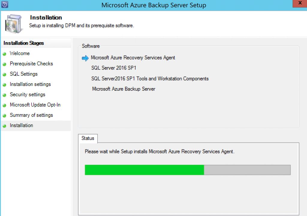 Microsoft Azure Backup Server Setup 2