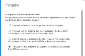 Microsoft Office 365 Freigabe
