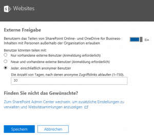 Microsoft Office 365 Freigabe Dialog