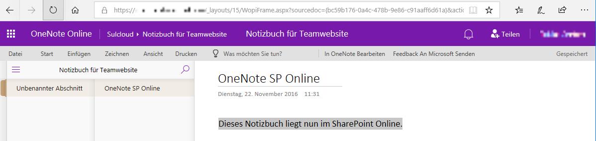 OneNote in SP Online