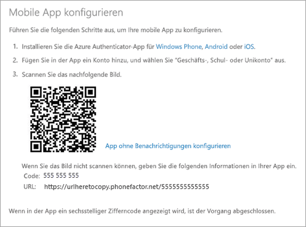 Mobile App für die Multi-Faktor-Authentifizierung (MFA) konfigurieren
