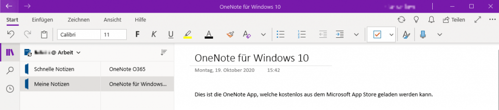 Abbildung 2 - OneNote Store-App
